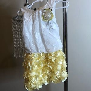 Yellow flower badazzled dress